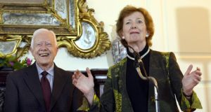 Former US president Jimmy Carter and former president Mary Robinson at the Department of Foreign Affairs Iveagh House during a visit hosted by Tánaiste Eamon Gilmore. Photograph: Brenda Fitzsimons
