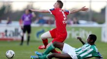 Bray's Ismahil Akinade and Iarfhlaith Davoren of Sligo Rovers at the Carlisle Grounds.  Photograph: James Crombie/Inpho