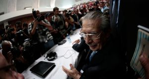 Former Guatemalan dictator Efrain Rios Montt sits in the Supreme Court of Justice as he waits for his sentencing in Guatemala City. Photograph: Jorge Dan Lopez/Reuters
