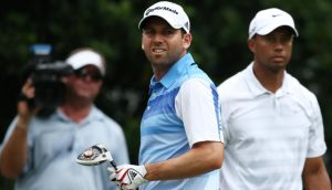 Tiger Woods and Sergio Garcia stand on the 11th tee during round three of The Players championship at TPC Sawgrass  in Ponte Vedra Beach, Florida. Photograph: Richard Heathcote/Getty Images