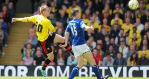 Watford's Matej Vydra scores his team's first goal during the npower Championship play-off semi final second leg against Leicester City at   Vicarage Road. Photograph: Nick Potts/PA