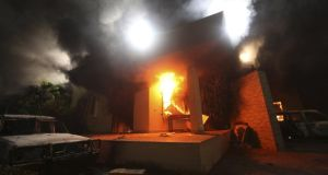 The US consulate in Benghazi after the attack on September 11th, 2012, in which ambassador Chris Steven was killed.  Photograph: Esam Al-Fetori/Reuters