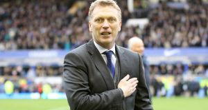 Everton manager David Moyes gestures to the fans after the  Premier League match against West Ham at Goodison Park.  Photograph:  Lynne Cameron/PA Wire.