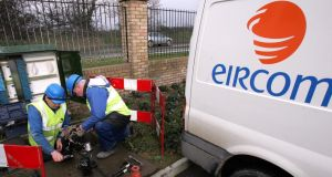 An Eircom crew at work. Eircom senior management will receive payments under a management incentive scheme if they can increase the value of the company above €1.8 billion. Photograph: Eric Luke