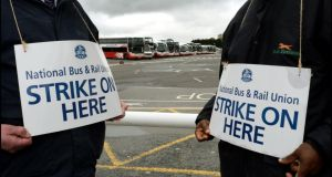 Bus drivers on the picket line at Broadstone station in Dublin during the National Bus and Rail Union industrial action. Photograph: Brenda Fitzsimons