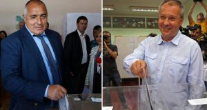 The leader of the centre-right Gerb party Boiko Borisov, left, and the leader of the Bulgarian Socialist Party Sergei Stanishev casting their votes in Sofia yesterday. Photographs: Stoyan Nenov, Pierre Marsaut/Reuters