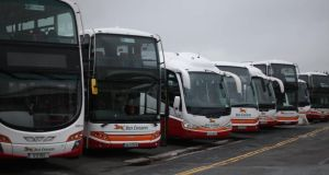 Bus Éireann buses parked up at Broadstone Depot.  Photograph: PA