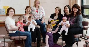 Sue Jameson (centre) and Denise Guidera (second from the right) with members of the Dublin 7 Cuidiu Breastfeeding support group in Phibsboro. Photograph: Alan Betson