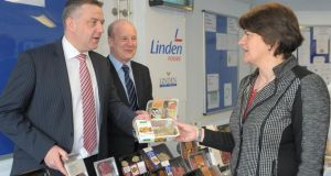 NI Minister for Enterprise Arlene Foster (right) with Linden Foods chairman Trevor Lockhart  and managing director Gerry McGuire. Photo: PA