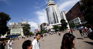 The commercial and shopping district in Kunming, Yunnan province.