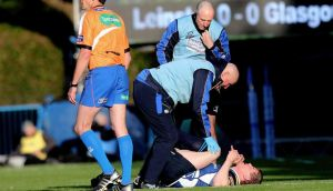 Leinster's Brian O'Driscoll receives  treatment during the RaboDirect Pro12 play- Off against Glasgow at the RDS. Photograph: James Crombie/Inpho