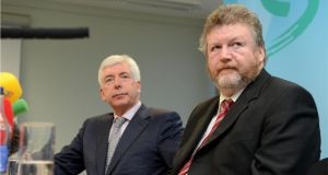 "Alex White and Minister for Health James Reilly. ""In spite of soothing noises from Minister of State Alex White, the fact is that nothing has been done after two-and-a-half years."" Photographer: Dara Mac Donaill"