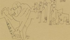 A detail of a caricature drawing of the composer Igor Stravinsky playing the music for The Rite of Spring by  Jean Cocteau