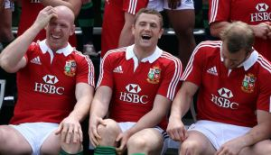 Paul O'Connell, Jamie Heaslip and Tom Croft share a joke in London on Monday.