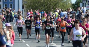 The last 1k at the Flora Women's Mini Marathon, in Dublin last year. Photograph: Dara Mac Dónaill  Photographer: Dara Mac Donaill / THE IRISH TIMES