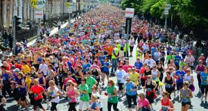 Participants in the Flora Women's Mini Marathon making their was from Fitzwilliam square, at the start of the 10k run last year. Photograph: Eric Luke