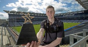 Kilkenny hurler Lester Ryan with his GAA/GPA Player of the League Award at Croke Park on Monday. Tyrone's Stephen O'Neill was awarded the football player of the league. Photograph: Inpho
