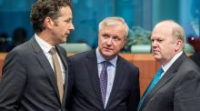 Minister for Finance Michael Noonan with Eurogroup president Jeroen Dijsselbloem (left) and EU commissioner Olli Rehn in Brussels yesterday. Photograph: AP