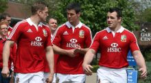 Jamie Heaslip, Jonathan Sexton and Cian Healy at the British & Irish Lions media day  in  London. Photograph: Dan Sheridan/Inpho