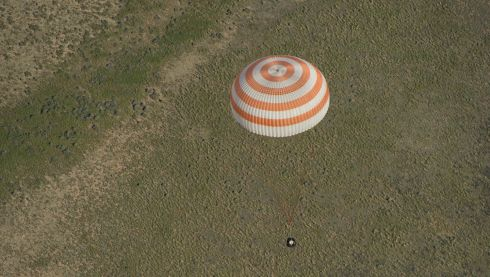 The Soyuz capsule pictured landing in Kazakhstan today. Photograph:  Carla Cioffi/NASA via Getty Images