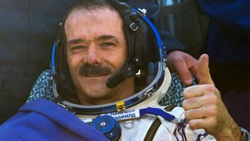 Canadian astronaut Chris Hadfield pictured as he lands in central Kazakhstan today.  Hadfield spent a five month mission aboard the International Space Station. Photograph: Reuters