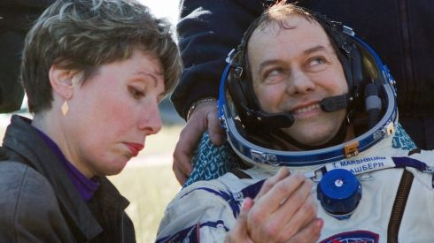 A medic examines US astronaut Tom Marshburn after he landed in Kazakhstan today.  Photograph: Reuters
