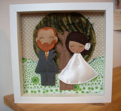 Custom-made framed bride and groom dolls, €75 by Guadalupe at Cow's Lane Designer Studio, Temple Bar