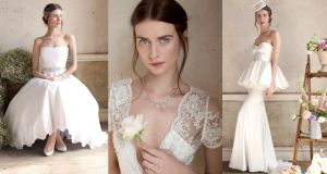 Left: Dress, €1,250, White Rose at Town Bride; shoes,€350, Freya Rose Natalie at Knightsbridge; belt, €275, Rubanesque Ruebenesqe; diamond bracelet, €12,500, Corr's Jewellery; veil, €250 Polly Edwards at Knightsbridge