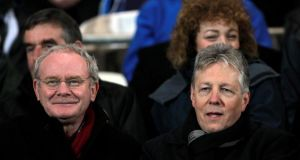 The North's First Minister Peter Robinson with Deputy First Minister Martin McGuinness at the 2012 McKenna Cup final between Derry and Tyrone.