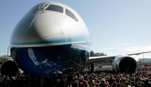 The Boeing 787 Dreamliner aircraft surrounded by employees and special guests during its world premiere in  2007. Photograph: Robert Sorbo/Reuters