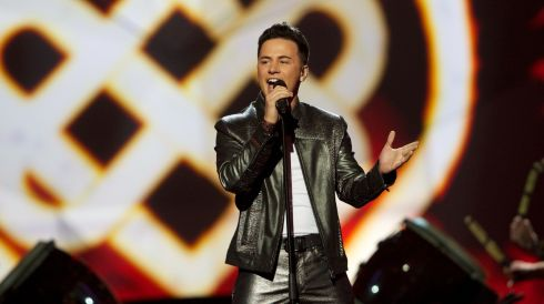 Ryan Dolan performing during the first  semi final of the Eurovision Song Contest in Malmo, Sweden, last night. Photograph: Ragnar Singsaas/Getty Images