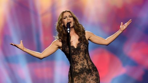 Despina Olympiou of Cyprus on stage in Malmo last night. Photograph: by Ragnar Singsaas/Getty Images
