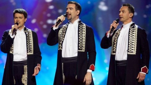 The band Klapa s mora of Croatia in Malmo last night. Photograph:  Ragnar Singsaas/Getty Images