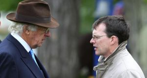 Aidan O'Brien chats to John Magnier at Leopardstown. Photograph: Lorraine O'Sullivan/Inpho