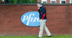 Ken Kelleher, chairman of the Little Island Community Association, outside Pfizer's plant in Little Island, Cork, today. Photograph: Provision