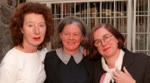 Mary Lavin's daughters (from left)  Valdi MacMahon, Liz Peavoy and  Caroline Walsh at a mews in Lad Lane that was once their home. Photograph: David Sleator