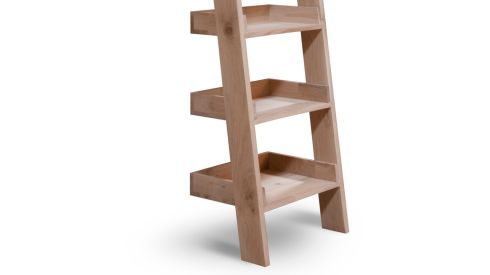 THREE OF THE BEST - SHELVING SOLUTIONS: This ladder requires no screws or DIY of any kind. Simply lean it against the wall of your choice and its ready to go. Crafted in raw oak it has six fixed tray-style shelves, measures 180cm by 54cm by 36cm and costs €260 from the Blue Door in Monkstown (01-5253406, thebluedoordirect.ie). Delivery to anywhere in Ireland is an additional €10.