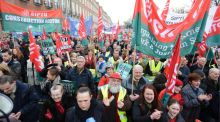 Participants in the anti-austerity march in Dublin in February organised by the Irish Congress of Trade Unions. Photographer: Dara Mac Dónaill
