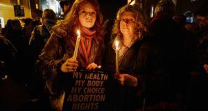 Orlaith de Paor and Liz White from Bray during a pro-choice rally   the Dáil last December. Photograph: Alan Betson