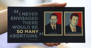 Connacht for Life flier that includes photographs of Fine Gael TDs Ciaran Cannon and Paul Connaughton. Photograph: Joe O'Shaughnessy