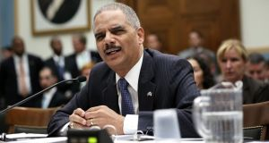 US attorney general Eric Holder testifies during a hearing before the House Judiciary Committee on oversight of the US department of justice yesterday. Photograph: Alex Wong/Getty Images