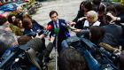 Justice Minister Alan Shatter speaking to the media at a press conference on the subject of allegations of improper cancellation of penalty points.  Photograph: Bryan O'Brien