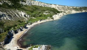 Aerial shot of Nicolas Colsaerts of Belgium teeing off on the ninth hole at Thracian Cliffs.