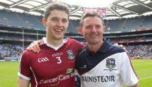 Colin Forde with Galway coach Alan Mulholland after winning the All-Ireland Under-21 Football final in 2011. Photograph: Lorraine O'Sullivan/Inpho
