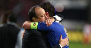 Chelsea's Frank Lampard and interim manager Rafael Benitez after their  Europa League Final win in  Amsterdam. Photograph: John Walton/PA Wire.