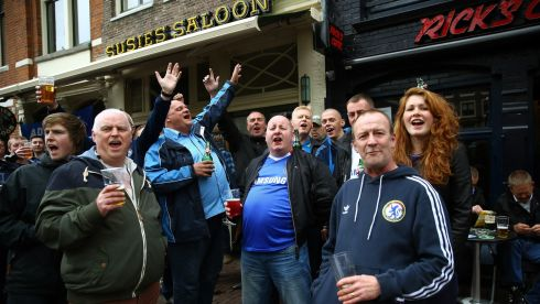 Chelsea fans prior to kick-off in Amsterdam. Photograph: Christof Koepsel/Getty Images