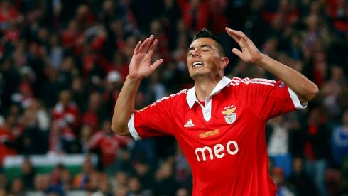 Benfica's Oscar Cardozo reacts after a disallowed goal. Photograph: Francois Lenoir/Reuters