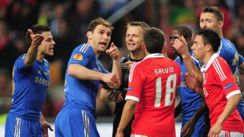 Chelsea appeal after a penalty was awarded to Benfica. Photograph: Jamie McDonald/Getty Images