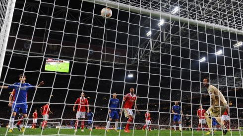 Gone.... As Branislav Ivanovic's winning header loops towards the top corner. Photograph: Michael Regan/Getty Images
