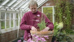 Head gardener Patrick Ardiff planting up one of Lodge Park's pots. Photograph: Richard Johnston
